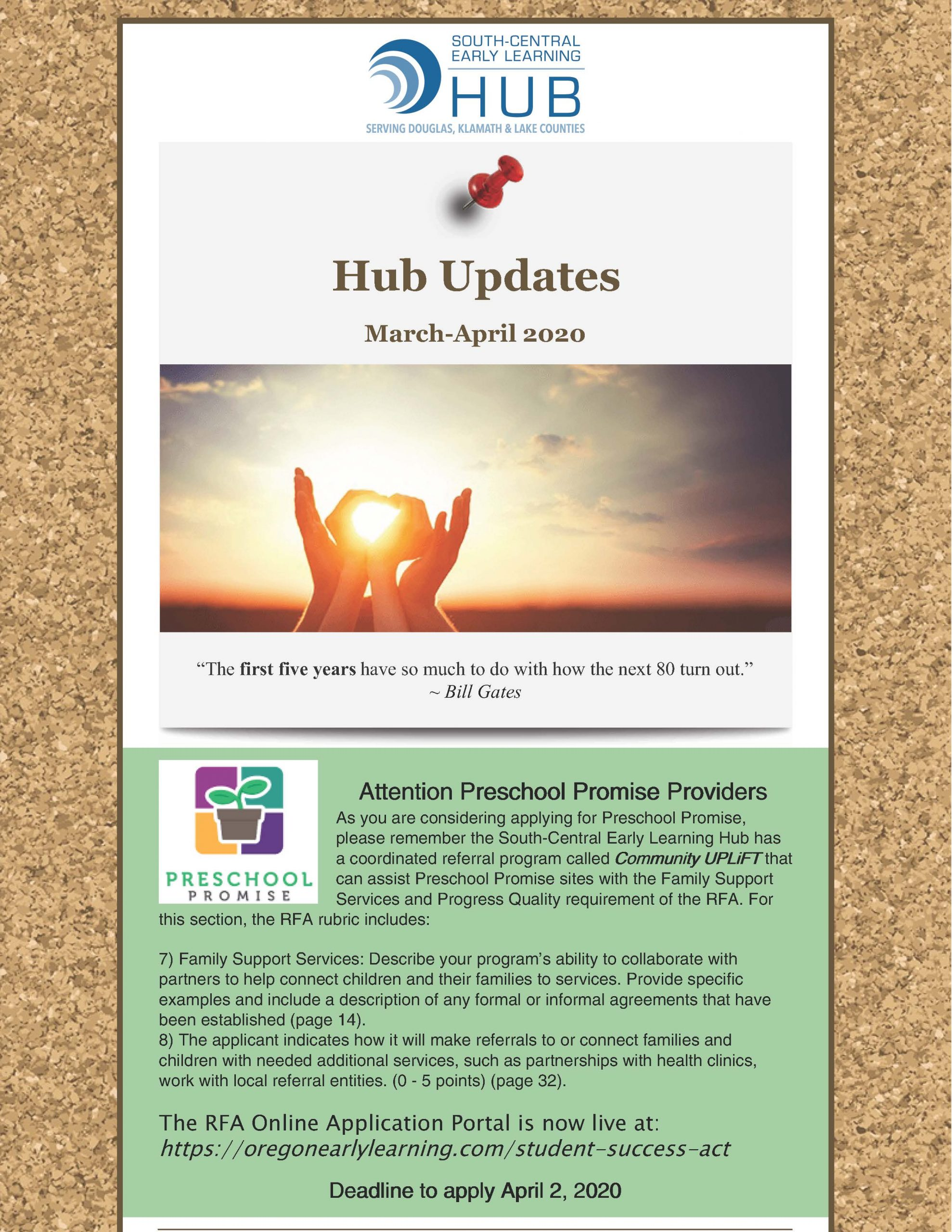 March-April 2020 Hub newsletter cover